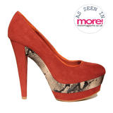Orange Snakeskin Platform Heel 